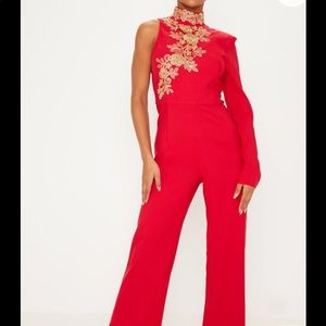 PRETTY LITTLE THING RED HIGH NECK JUMPSUIT ❤️
